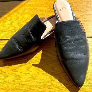 J. Crew Leather Pointed Toe Mules Flats 8